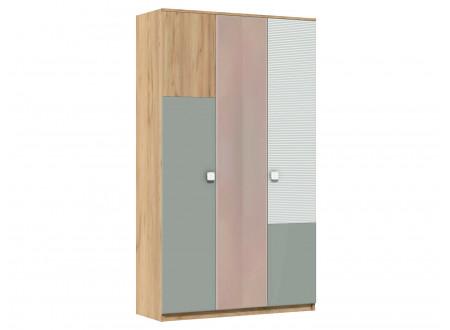 Трех-дверный шкаф с зеркалом, со штангой и с полками - 522.171 (универсальный - двери можно менять местами)