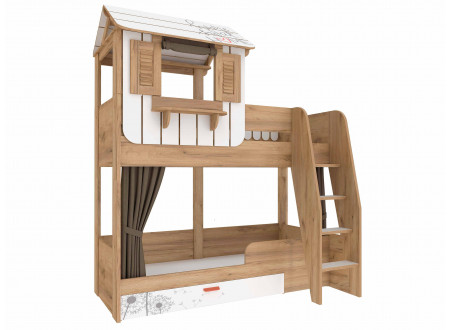 2-х ярусная кровать с лестницей СПРАВА, спальные места 80*190, без матрасов - 524.010