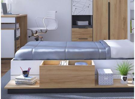 Тумба прикроватная на всю длину кровати, с 2-мя нишами - 528.110 - (универсальная - СЛЕВА / СПРАВА)