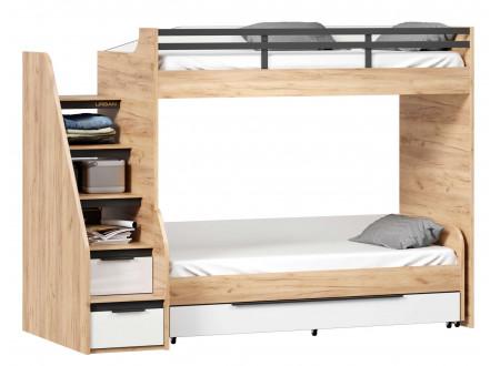 Кровать-чердак правая с лестницей СЛЕВА - 528.170 (базовый модуль для наборов Урбан)