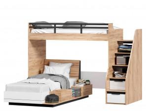 Кровать-чердак левая с лестницей СПРАВА - 528.250 (базовый модуль для наборов Урбан)
