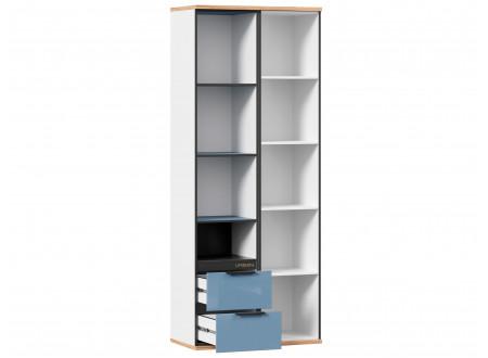2-х дверный шкаф с нишей и 2-мя ящиками внизу - 528.070-40 ПВ - (L / R) - вар. 1 - Капри Синий