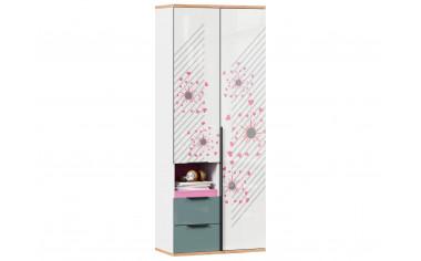 2-х дверный шкаф с ящиками - с розовым