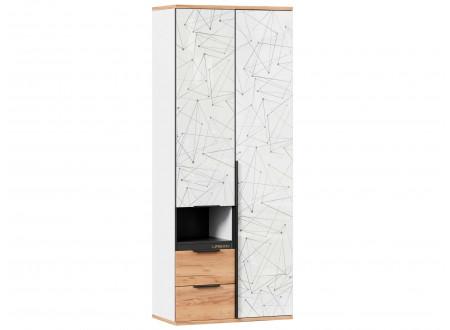 2-х дверный шкаф с нишей и 2-мя ящиками внизу - 528.070-40 ПВ - (L / R) - вар. 2 - Дуб Золотой