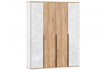 4х дверный шкаф с полками и штангой - Дуб золотой