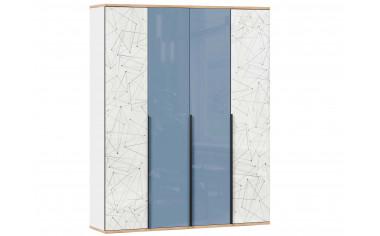 4х дверный шкаф с полками и штангой - Капри Синий
