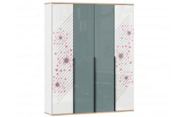 4х дверный шкаф с полками и штангой - с Розовым