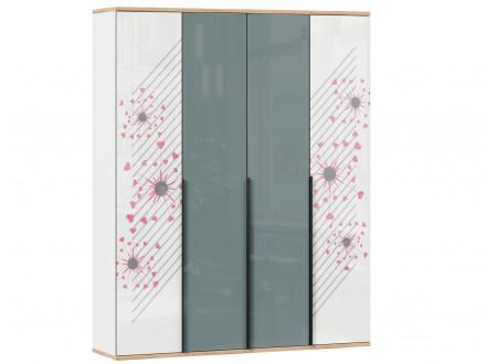 4-х дверный шкаф с полками и штангой - 528.050-040-040 (вар. 3 - с Розовым)