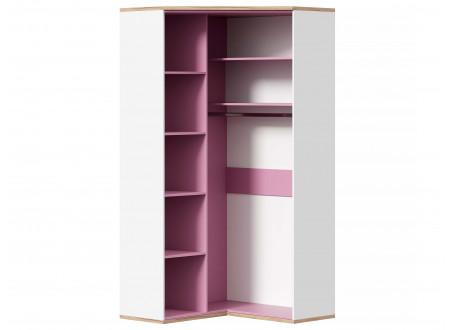 Угловой 2-х дверный шкаф с полками и штангой - 528.060 ПВ (вар. 3 - с Розовым)