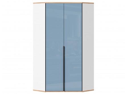 Угловой 2-х дверный шкаф с полками и штангой - 528.060 ПВ (вар. 1 - Капри Синий)