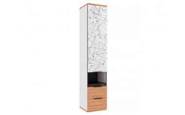 Одно-дверный шкаф с ящиками - Дуб Золотой