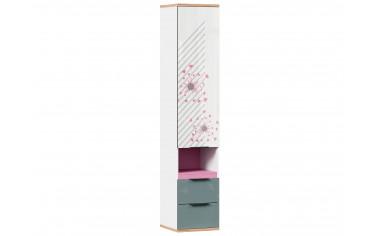 Одно-дверный шкаф с ящиками - с Розовым