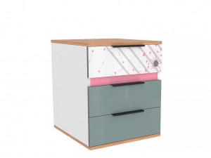 Тумба прикроватная или под стол, с 3-мя ящиками - 528.120 - вар. 3 - с Розовым