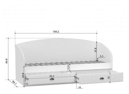 Кровать-тахта со спальным местом 80*190, без матраса с 2-мя выдвижными ящиками - ЛД 680.060