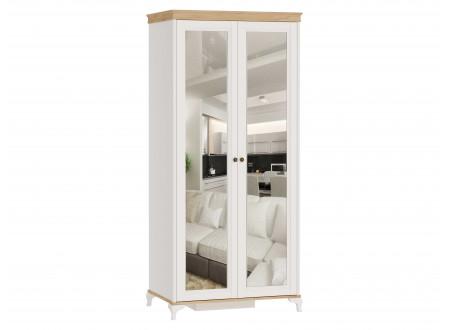 Шкаф 2-х дверный с 2-мя зеркалами со штангой СЛЕВА и с полками СПРАВА - ЛД 680.080.2z