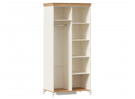 Шкаф 2-х дверный с одним зеркалом СЛЕВА со штангой СЛЕВА и с полками СПРАВА - ЛД 680.080.1ZL