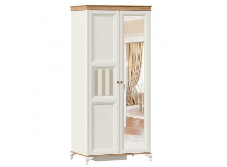 Шкаф 2-х дверный с одним зеркалом СПРАВА со штангой СЛЕВА и с полками СПРАВА - ЛД 680.080.1ZR