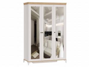 Шкаф 3-х дверный с 3-мя зеркалами со штангой СЛЕВА и с полками СПРАВА - ЛД 680.090.3z