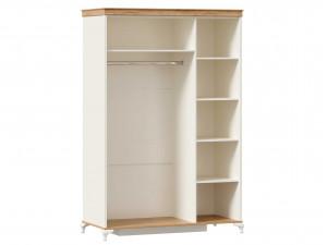 Шкаф 3-х дверный с одним зеркалом со штангой СЛЕВА и с полками СПРАВА - ЛД 680.090.1z