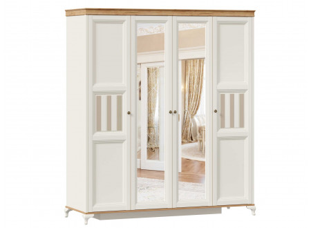 Шкаф 4-х дверный с 2-мя зеркалами в центре со штангой и с полками по бокам - ЛД 680.100.2z