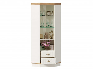 Низкий угловой 1-дверный шкаф-витрина с 2-мя ящиками ВНИЗУ - ЛД 680.340