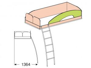 Кровать верхняя - 147710 с лестницей СЛЕВА