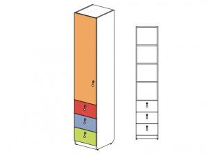 1-дверный шкаф с 3-мя ящиками - 144102L (ЛЕВЫЙ)