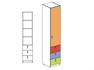 1-дверный шкаф с 3-мя ящиками - 144102.R (ПРАВЫЙ)