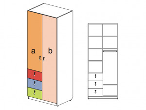 2-х дверный шкаф с 3-мя узкими ящиками - 144103