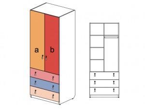 2-х дверный шкаф, с широкими ящиками - 144104