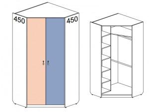 Угловой 2-х дверный шкаф 144106