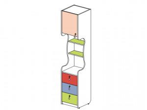 1-дверный шкаф-стеллаж с ящиками - 144108.L (ЛЕВЫЙ)