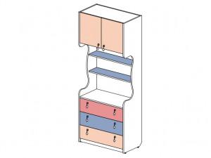 2-х дверный шкаф-стеллаж с 3-мя ящиками - 144110
