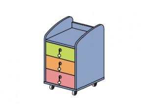 тумба на колесиках с 3-мя ящиками - 142906
