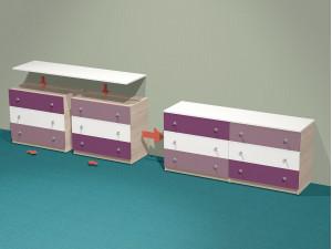 Комод шириной 820 мм., с 3-мя ящиками, без крышки - СФ-262902