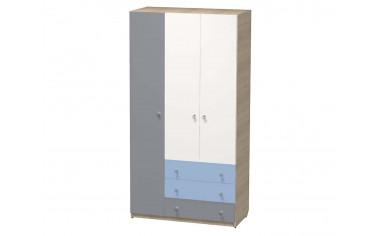 Трех-дверный шкаф с полками со штангой и с 3-я ящиками - СФ-264108