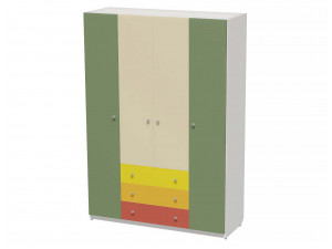 Четырех-дверный шкаф с полками, с 3-я ящиками и штангой - СФ-264113