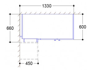 Угловой двух-дверный шкаф с полками СПРАВА и со штангами - СФ-264511
