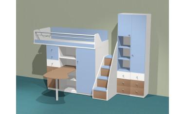 Кровать-чердак со столом, с лестницей и с 2-мя шкафами - Силует - со скидкой