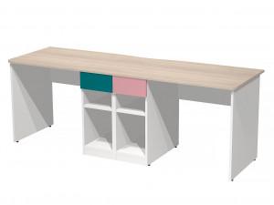 Двойной письменный стол с двумя тумбами посередине - СФ-267518